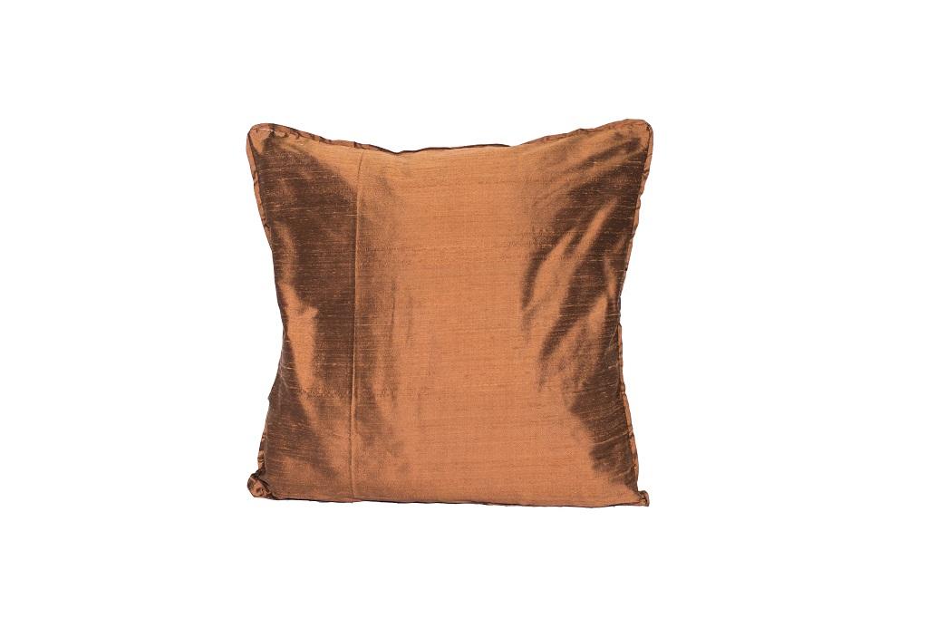 Almofada de seda lisa bronze
