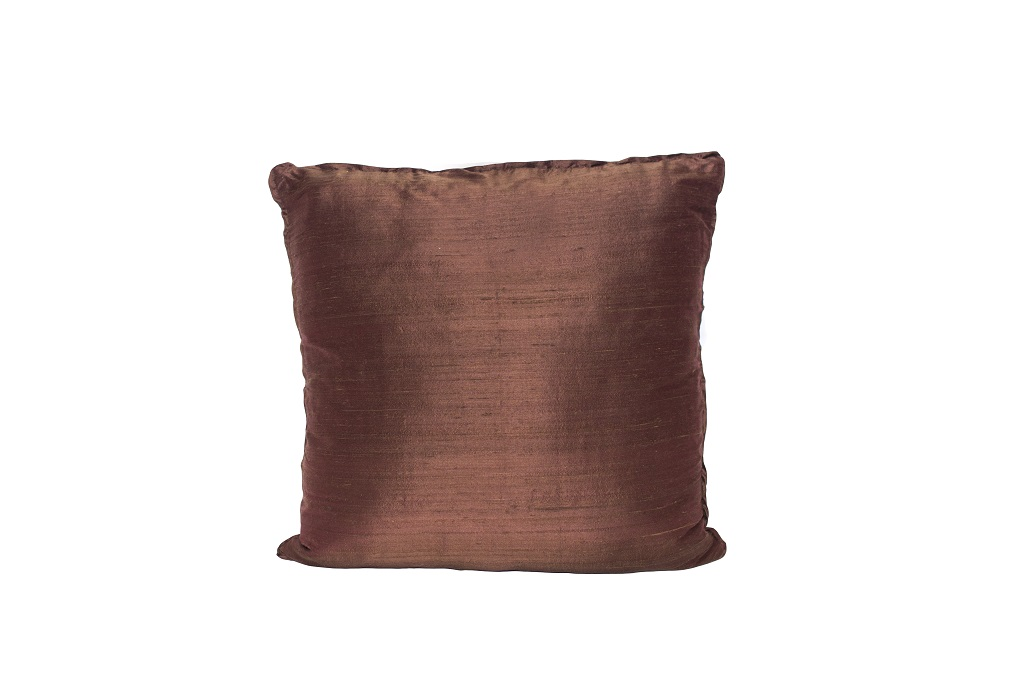 Almofada de seda lisa terracota