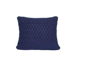 L052 Almofada tricot trabalhado azul marinho
