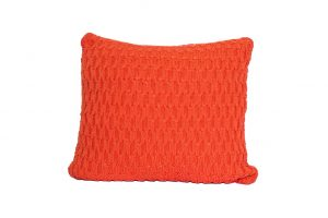 L053 Almofada tricot trabalhado laranja