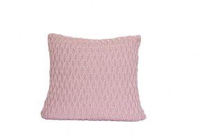 L054 Almofada tricot trabalhado rosa antigo