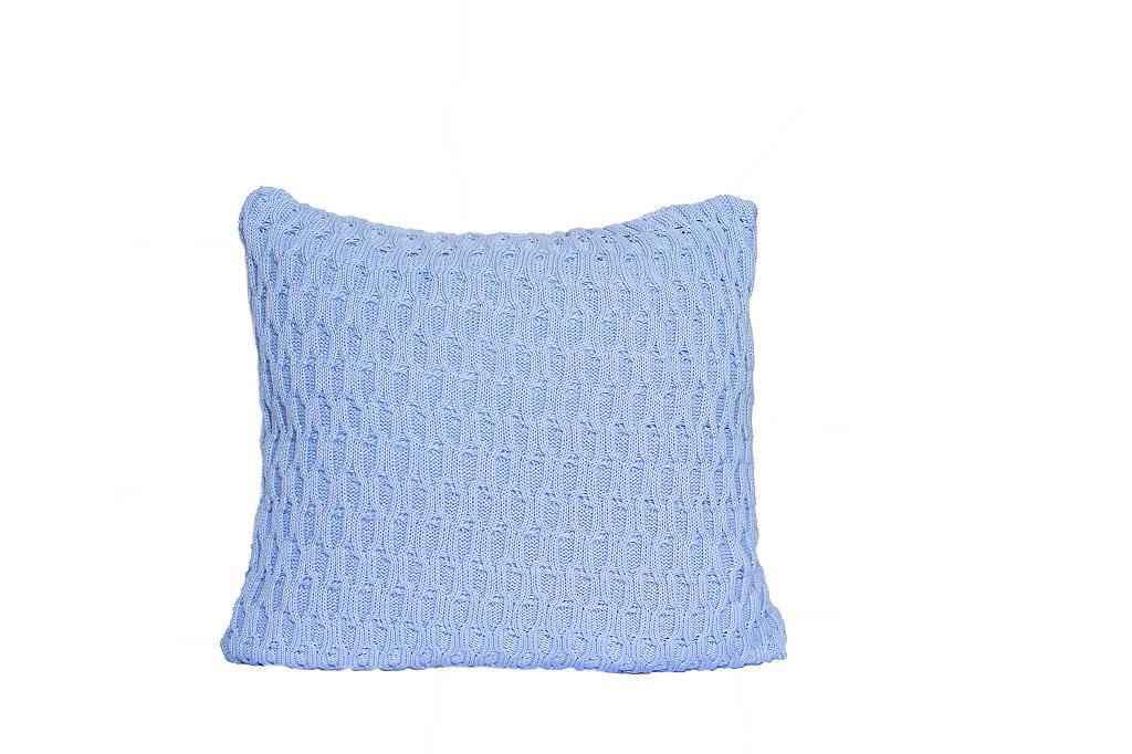 Almofadas de tricot trabalhado azul ceu