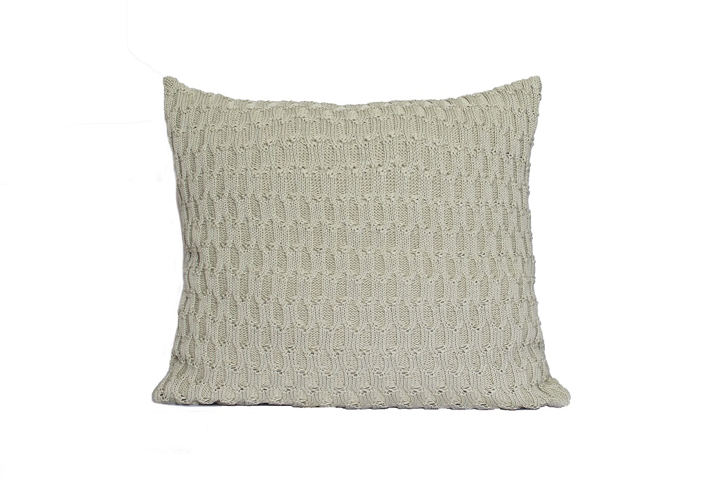 Almofadas de tricot trabalhado bege escuro