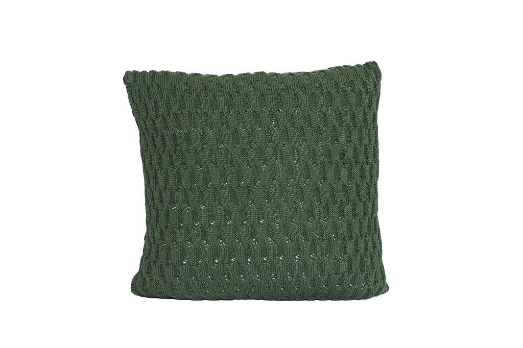 Almofadas de tricot trabalhado verde exercito