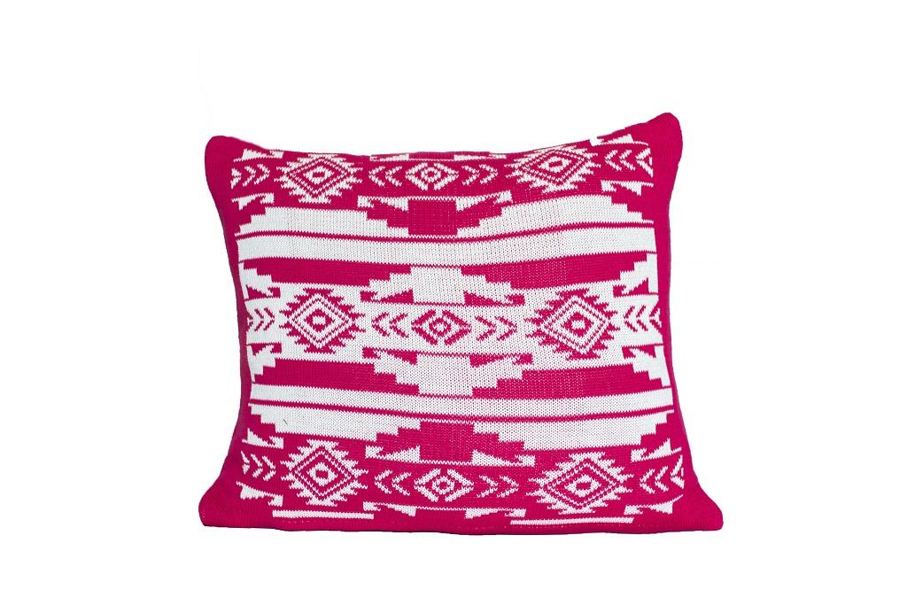 Almofadas de tricot etnico cru pink