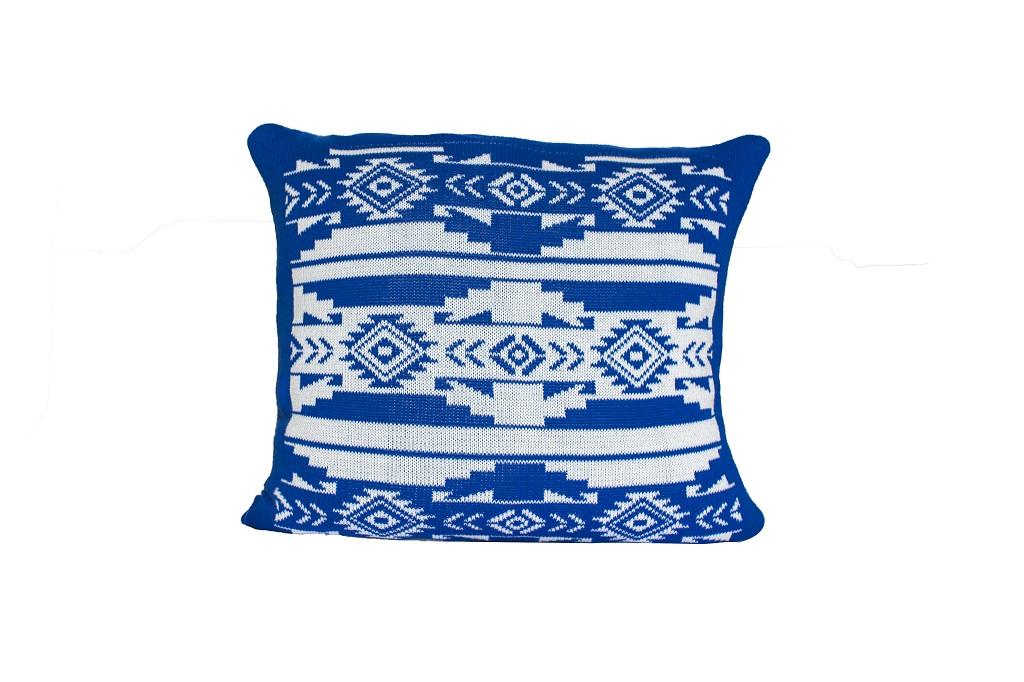 Almofadas de tricot etnico azul royal