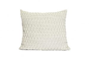 L60 Almofada tricot trabalhado bege claro